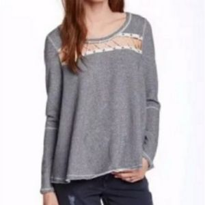 Free People Casual Blue Top Cutout laceup